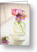 Aster  Photo Greeting Cards - Roses And Aster In Glass Bottle Greeting Card by Helena Schaeder Söderberg