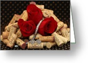 Silver Framed Prints Pyrography Greeting Cards - Roses and Corks Greeting Card by Moon Time Photo
