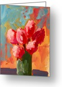 Flower Still Life Prints Painting Greeting Cards - Roses are Pink Greeting Card by Patricia Awapara