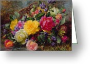 Basket Greeting Cards - Roses by a Pond on a Grassy Bank  Greeting Card by Albert Williams