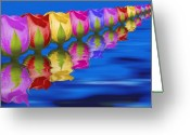 Water Bloom Greeting Cards - Roses Floating Greeting Card by Tom Mc Nemar