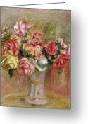 Pierre Auguste (1841-1919) Greeting Cards - Roses in a Sevres Vase Greeting Card by Pierre Auguste Renoir