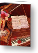 Steinway  Greeting Cards - Roses in Harmony Greeting Card by Carol VonBurnum
