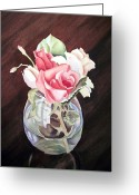 Irina Greeting Cards - Roses in the Glass Vase Greeting Card by Irina Sztukowski