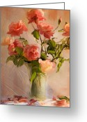Vase Of Flowers Greeting Cards - Roses la Belle Greeting Card by Linde Townsend