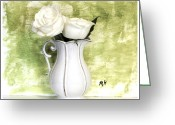 Lime Photo Greeting Cards - Roses on Lime Greeting Card by Marsha Heiken