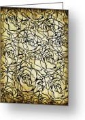 Texture Floral Greeting Cards - Roses Pattern Greeting Card by Setsiri Silapasuwanchai