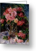 Pierre Auguste (1841-1919) Greeting Cards - Roses Greeting Card by Pierre Auguste Renoir