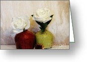 Lime Photo Greeting Cards - Roses Pure White Greeting Card by Marsha Heiken