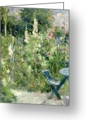 Hollyhock Greeting Cards - Roses Tremieres Greeting Card by Berthe Morisot