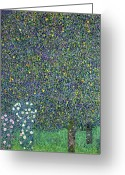 1918 Greeting Cards - Roses under the Trees Greeting Card by Gustav Klimt