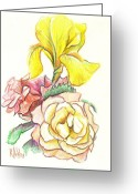 Garden Decoration Mixed Media Greeting Cards - Roses with Yellow Iris Greeting Card by Kip DeVore