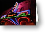 Mgm Greeting Cards - Roseville Theater Neon Sign Greeting Card by Melany Sarafis