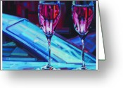 Cabernet Sauvignon Greeting Cards - Rosey Twins Greeting Card by Penelope Moore