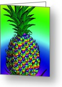 Retro-montage Greeting Cards - Rosh Hashanah Pineapple Greeting Card by Eric Edelman