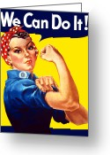 Political Propaganda Digital Art Greeting Cards - Rosie The Rivetor Greeting Card by War Is Hell Store