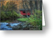 Ohio Country Greeting Cards - Ross Covered Bridge Greeting Card by Pamela Baker