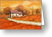 Stairs Greeting Cards - Rosso Papavero Greeting Card by Guido Borelli