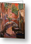 Guido Tapestries Textiles Greeting Cards - Rosso Veneziano Greeting Card by Guido Borelli