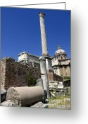 Romans Greeting Cards - Rostra. Column of Phocas and Septimius Severus arch in the Roman Forum. Rome Greeting Card by Bernard Jaubert