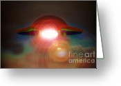 Flying Saucer Greeting Cards - Roswell Greeting Card by David Lee Thompson