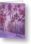 Maryann Stafford Greeting Cards - Rosy Evening Greeting Card by MaryAnn Stafford