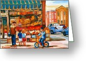 Store Fronts Greeting Cards - Roters Fifties Fruit Store Vintage Montreal City Scene Paintings Greeting Card by Carole Spandau
