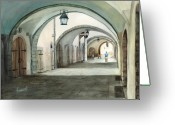 Cobblestone Greeting Cards - Rothenburg Backstreet Greeting Card by Sam Sidders