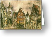 Aquarel Greeting Cards - Rothenburg Bavaria Germany Greeting Card by Peter Art Prints Posters Gallery