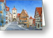 Germany Painting Greeting Cards - Rothenburg Germany Greeting Card by Mike Rabe