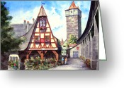 Germany Painting Greeting Cards - Rothenburg Memories Greeting Card by Sam Sidders