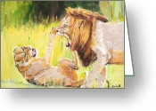 Lions Painting Greeting Cards - Rough Play Greeting Card by Judy Kay