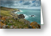 Lichen Image Greeting Cards - Rough Sea At Prussia Cove In Cornwall Greeting Card by Slawek Staszczuk