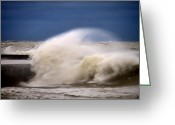 Lake Michgan Greeting Cards - Rough Surf  Greeting Card by Sven Brogren