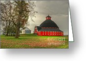 Ohio Country Greeting Cards - Round Barn of Ohio Greeting Card by Pamela Baker
