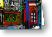 Urban Pastels Greeting Cards - Round the Corner Greeting Card by Stefan Kuhn