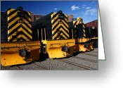 Roundhouse Greeting Cards - Roundhouse Locomotives Greeting Card by David Pettit