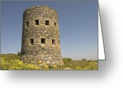 Bauwerk Greeting Cards - Rousse tower -napoleonic fortified tower  - Isle of Guenrsey Greeting Card by Urft Valley Art