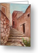 Old Wall Pastels Greeting Cards - Roussillon Walk Greeting Card by Anastasiya Malakhova