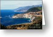 Posters Greeting Cards - Route 1  California Pacific Coast  Greeting Card by The Kepharts 