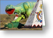 Dinosaurs Digital Art Greeting Cards - Route 66 Can Be Brutal Greeting Card by Mike McGlothlen
