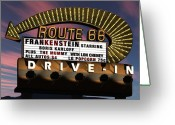 Sunset Posters Greeting Cards - Route 66 Drive In Greeting Card by Anthony Ross