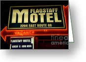 Vintage Signs Greeting Cards - Route 66 Flagstaff Motel Greeting Card by Bob Christopher