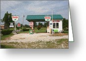 Dusty Road Greeting Cards - Route 66 Gas Station with Sponge Painting Effect Greeting Card by Frank Romeo