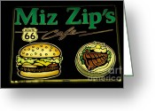 Vintage Signs Greeting Cards - Route 66 Miz Zips Greeting Card by Bob Christopher