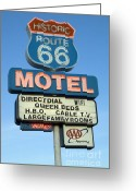 Vintage Signs Greeting Cards - Route 66 Motel Sign 3 Greeting Card by Bob Christopher