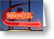 Motel Greeting Cards - Route 66 Motel Sign Greeting Card by Troy Montemayor