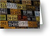 The Mother Road Greeting Cards - Route 66 Oklahoma Car Tags Greeting Card by Susanne Van Hulst