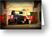 The Mother Road Greeting Cards - Route 66 Parking Lot Greeting Card by Susanne Van Hulst