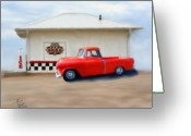 Red Photographs Mixed Media Greeting Cards - Route 66-Pit Road - Fire and Ice Series Greeting Card by Colleen Taylor